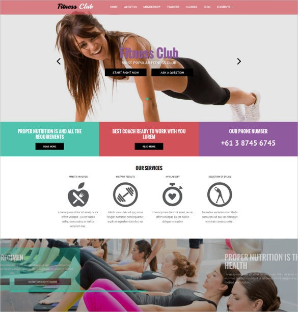 fitness club sport drupal mobile theme