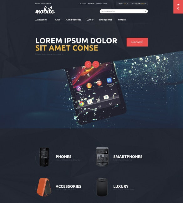mobile phones accessories magento blog theme