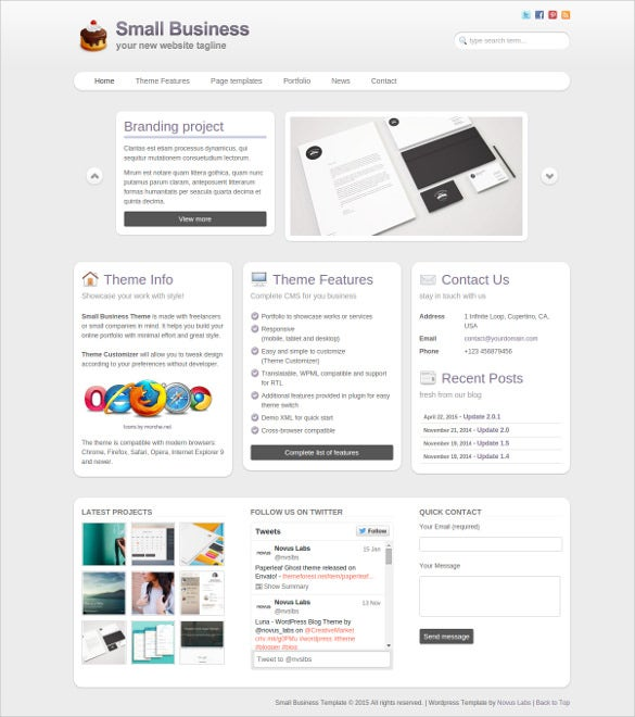 small business portfolio blog theme for wordpress