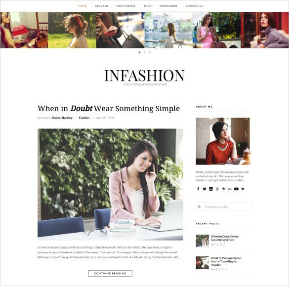 fashion mobile responsive wordpress blog theme