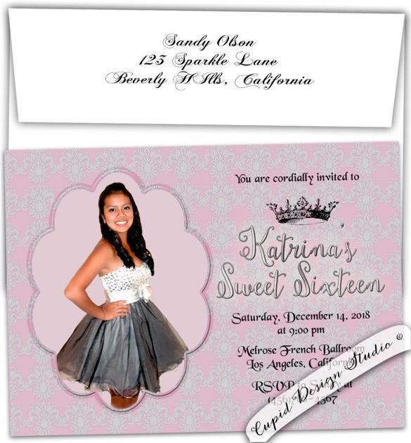 18 quinceanera invitation templates free sample example format sweet sixteen birthday invitation pink and silver personalized custom stopboris Image collections