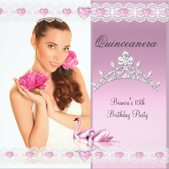 quinceanera 15th white pink swans tiara photo invitation