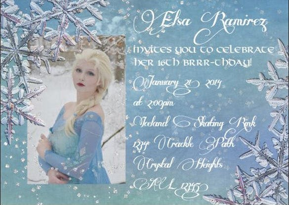 frozen photo invitation for birthday quinceanera sweet sixteen