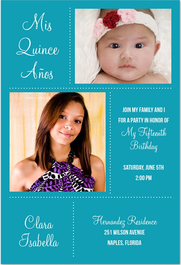 mis quince dotted invitation