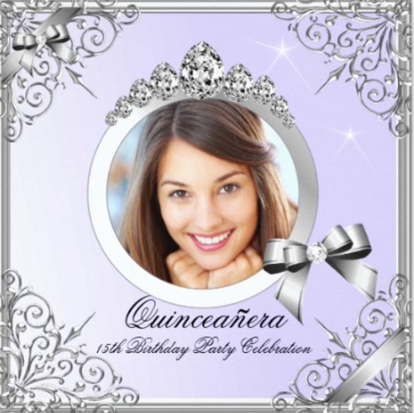 quinceanera purple silver photo 15 birthday party invitation