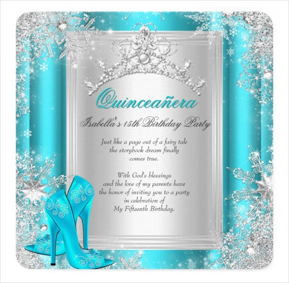 quinceanera 15th winter wonderland teal aqua invitation