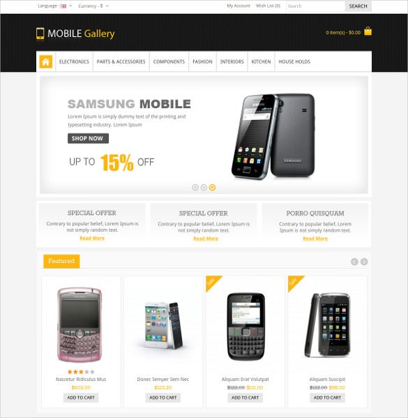 mobile gallery responsive opencart blog theme