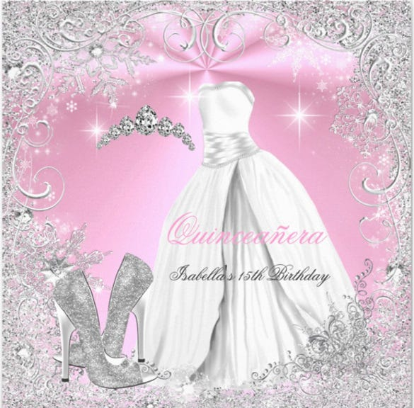 quinceanera party pink white winter snowflakes 2 invitation