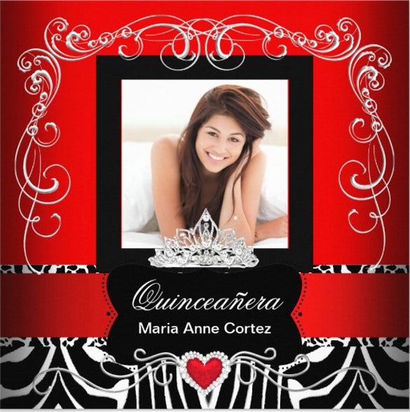 photo quinceanera 15th birthday red zebra invitation