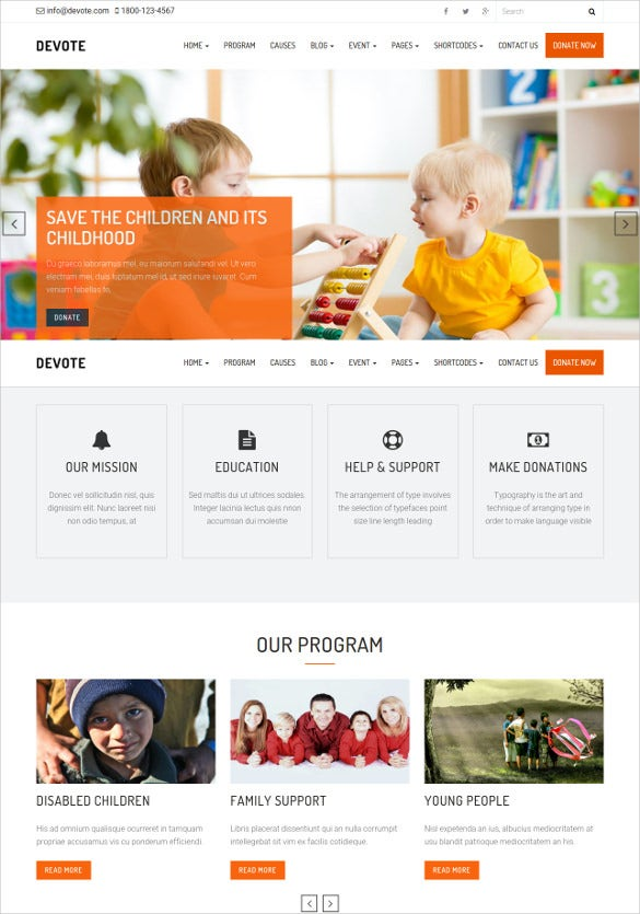 beautiful children charity wordpress theme
