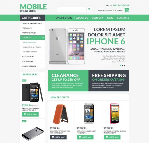 mobile electronics virtuemart html5 template