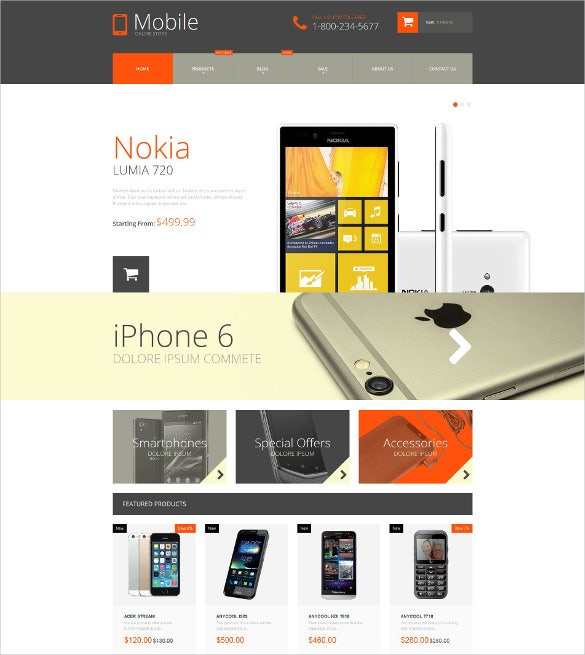 mobile phones shopify html5 theme