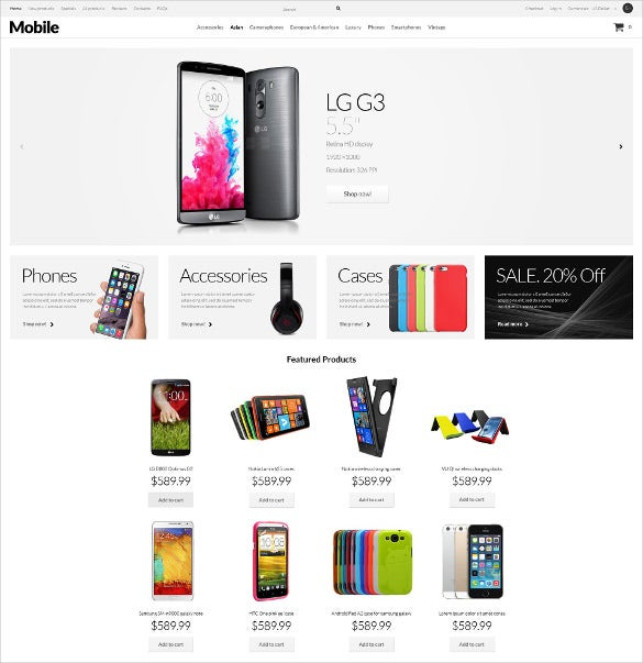 mobile phones zencart html5 template