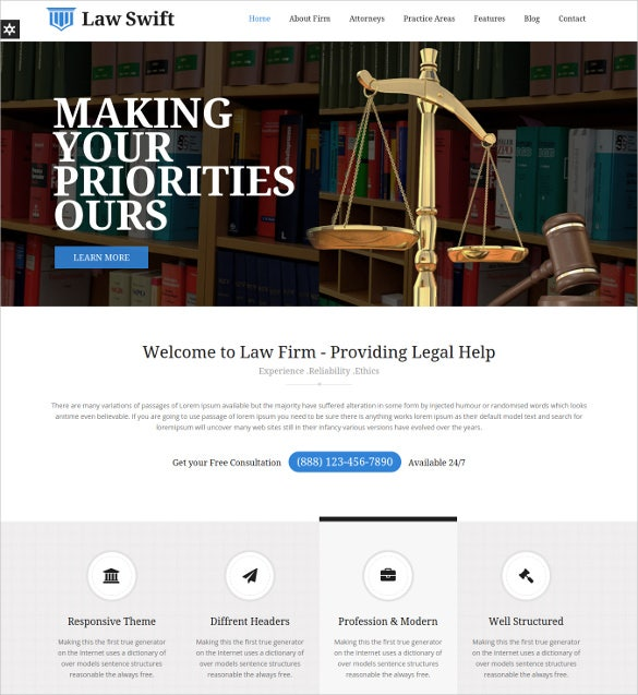 mobile lawyer attorney business html5 template