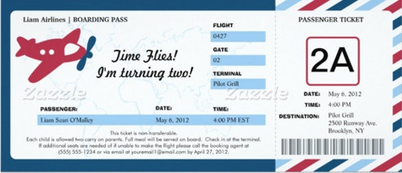 Birthday Boarding Pass Ticket Paper Invitation Card  Airplane Ticket Invitations