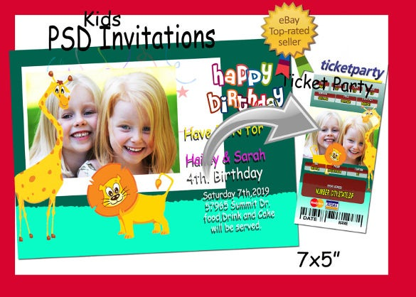 templates psd for birthday invitations ticket party