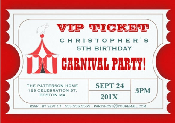 circus carnival birthday party ticket invitation1
