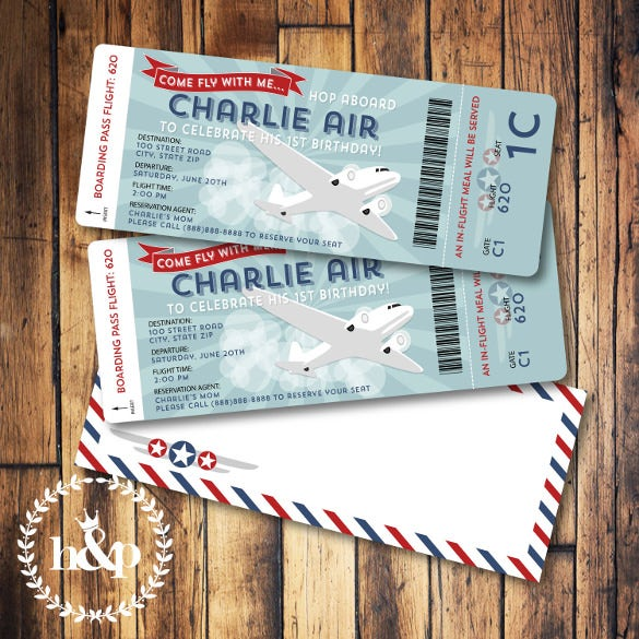 airplane birthday invitation boarding pass and airmail envelope template