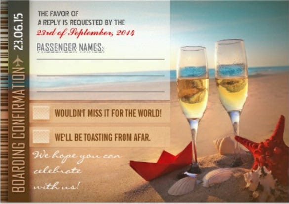 boarding confirmation wedding rsvp cards – tickets