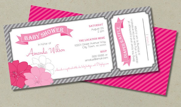 Delightful Baby Shower Ticket Invitation