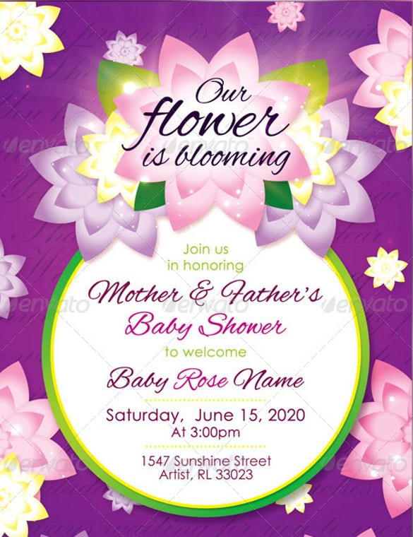 flower girl baby shower invitation raffle ticket