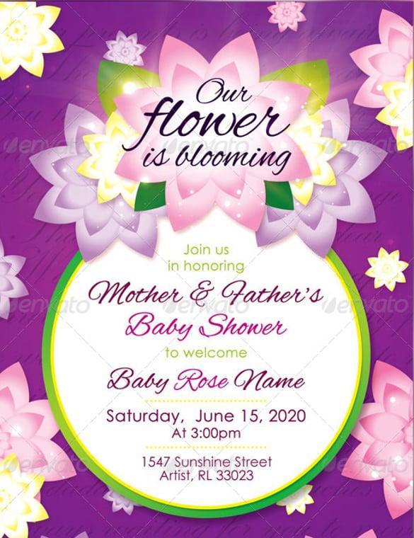 flower girl baby shower invitation raffle ticket