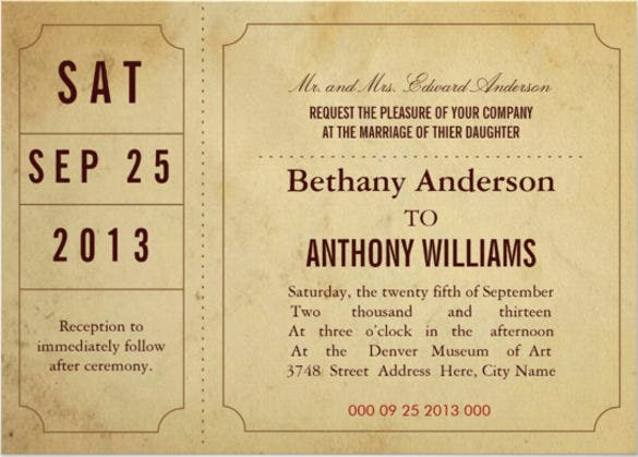 Vintage Ticket Wedding Invitation  Printable Ticket Invitations