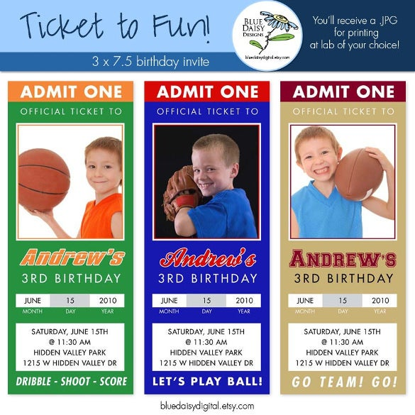 sport birthday ticket invitations custom photo invitation