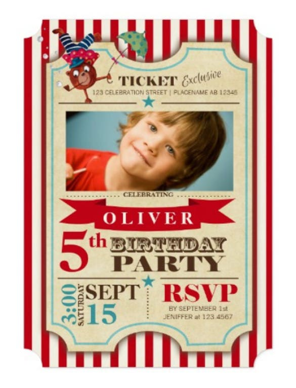 circus ticket birthday photo party invitation