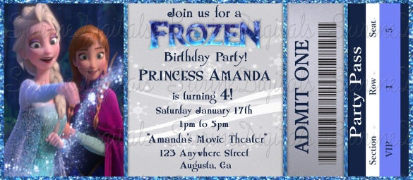 frozen movie ticket birthday party invitation elsa and anna ticket style part invite