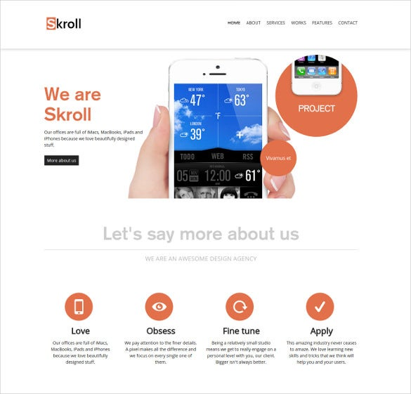 premium responsive html5 one page mobile theme