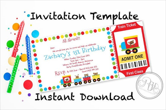 train ticket birthday invitation