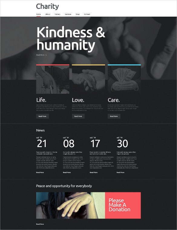 dark beautiful charity bootstrap wordpress theme