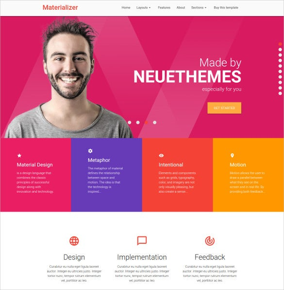 material design landing page html5 mobile template