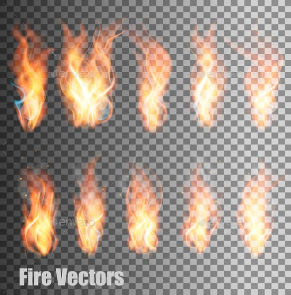 fire on transparent background vector eps format