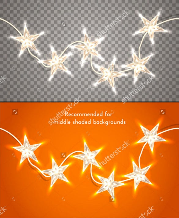 star shaped christmas lights on transparent background