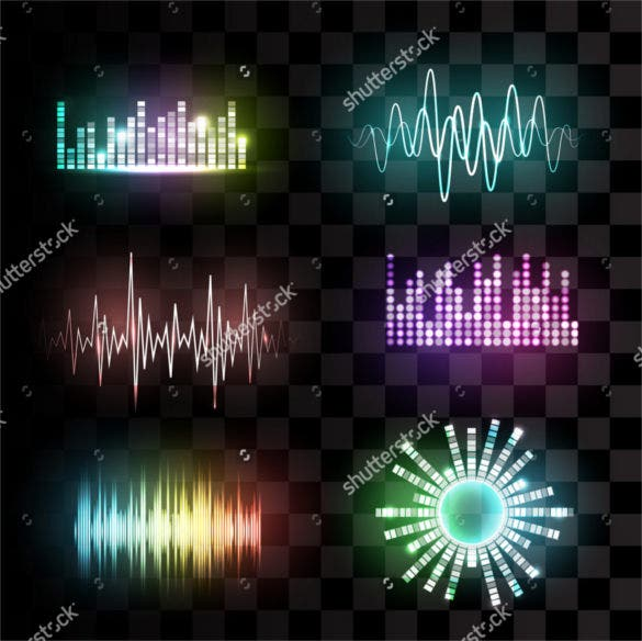 vector sound waves set on transparent background download