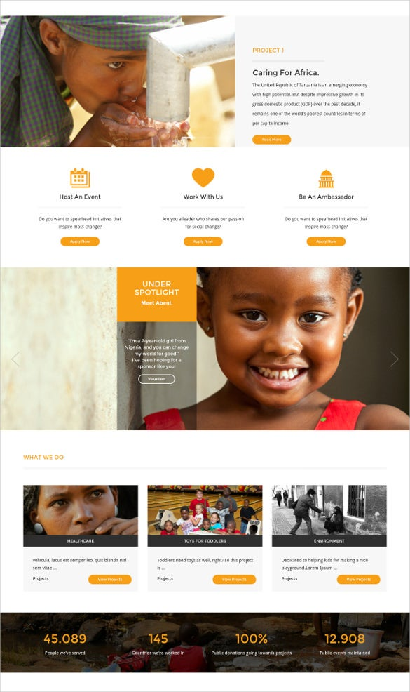 Beautiful NGO Charity Bootstrap WordPress Theme $59 Ideas Ngo Templates
