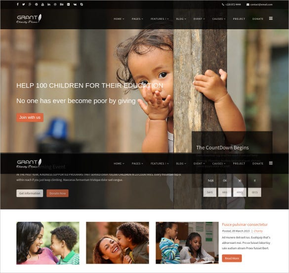 latest charity bootstrap html5 template