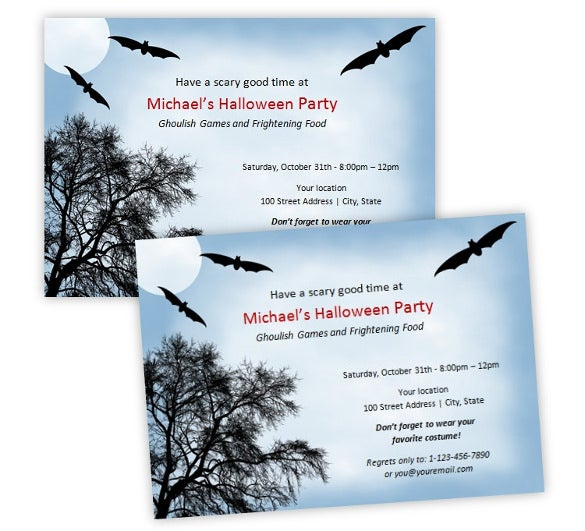 scary bats halloween party invitations