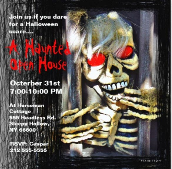 haunted house halloween party invitation skeleton