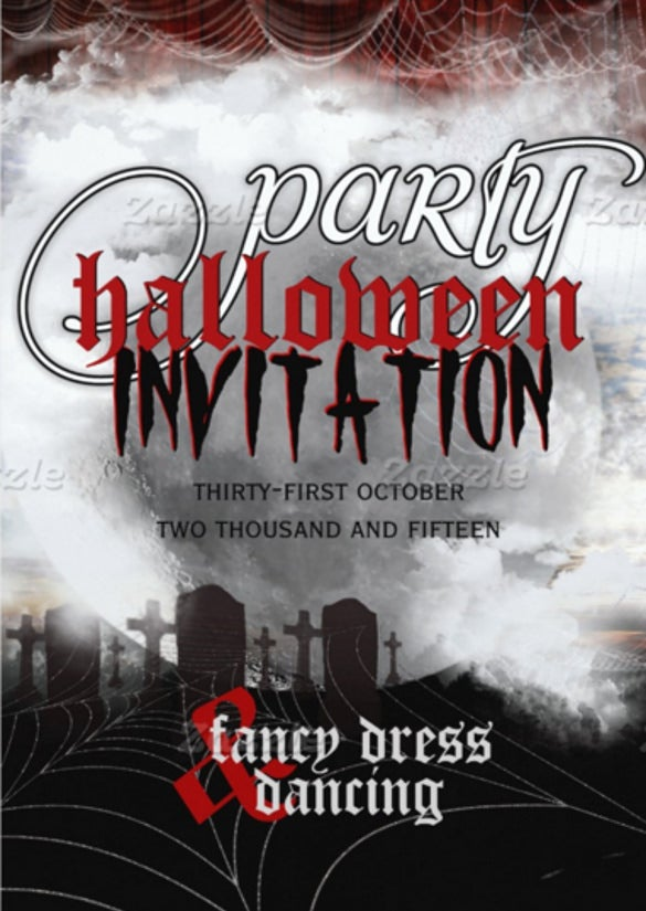 full moon cemetery dreams halloween party invite
