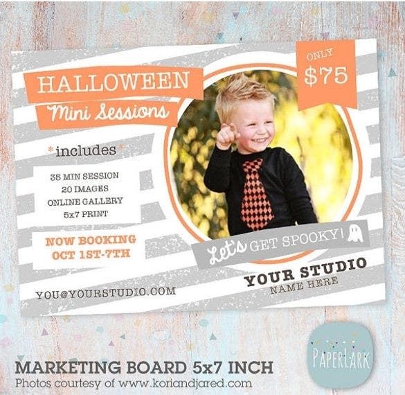 halloween photography marketing board