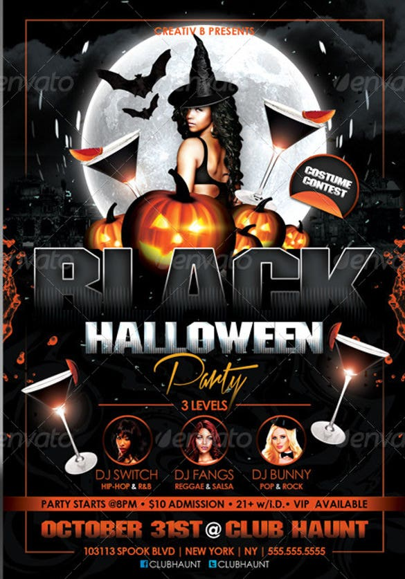 black halloween party flyer template