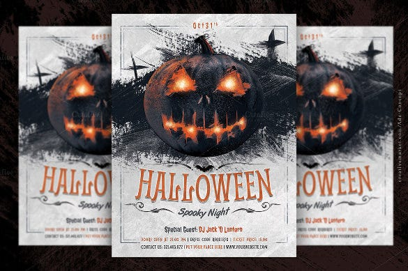 brown halloween party flyer template