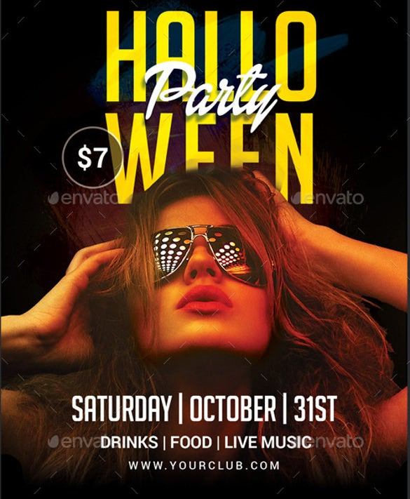 dark halloween party flyer template