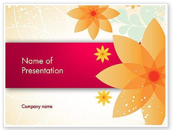 abstract origami flower powerpoint template