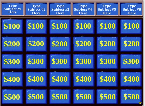 sample school subjects powerpoint jeopardy template