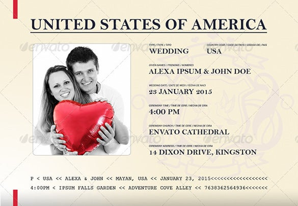 passport style wedding set