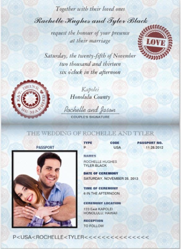 15 Passport Invitation Templates Free Sample Example Format – Wedding Invitation Sample Format